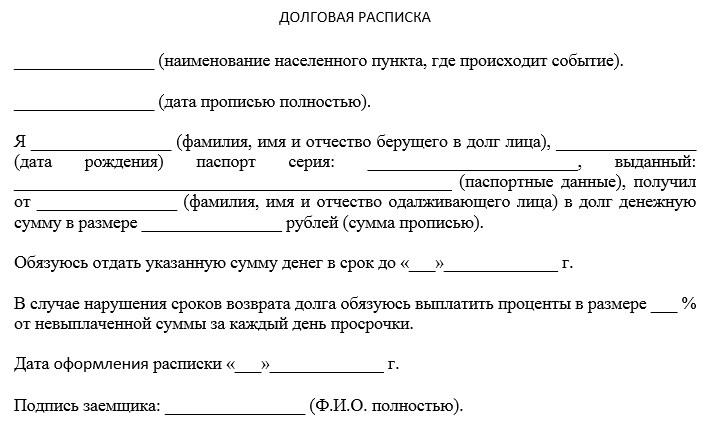 Расписка о даче денег в долг под проценты образец срочно взять деньги в долг в челябинске