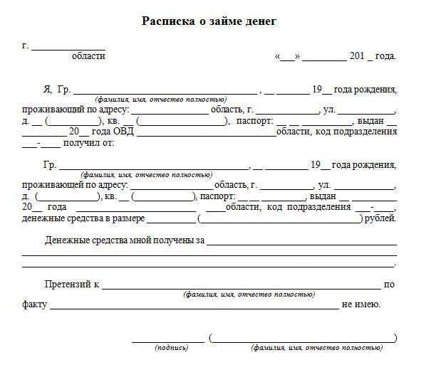 Расписка договор займа между физическими лицами